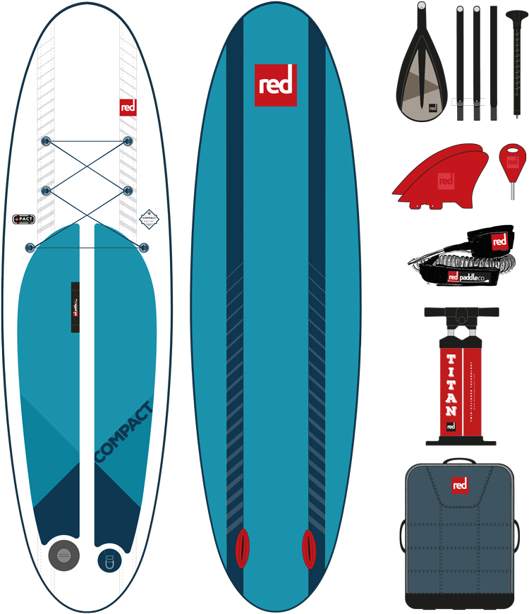red paddle Compact package 9.6 opblaasbare sup board voordeelpakket
